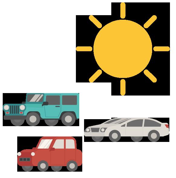 cars and sun